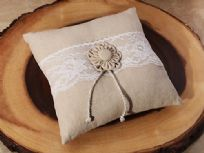 Burlap & Lace Wedding Ring Cushion